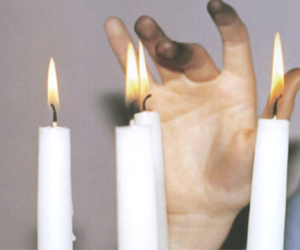 candle, fire, and fingers image