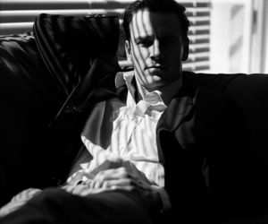 michael fassbender and black and white image