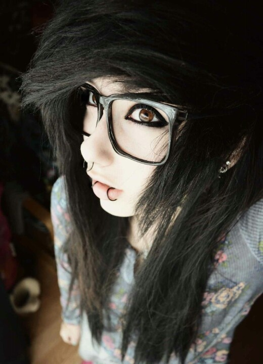 glasses girls Black emo hair with