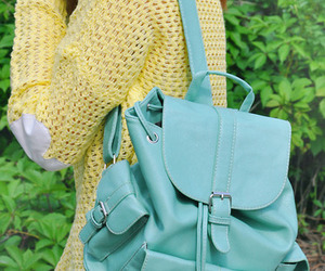 backpack, blue, and fashion image