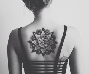 tattoo, mandala, and black and white image