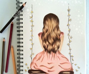 drawing, girl, and draw image