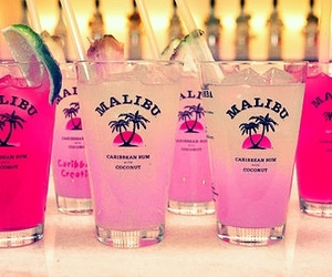 malibu, drink, and pink image