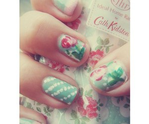 nails, flowers, and pretty image