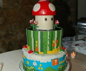 cake, mario, and wedding image