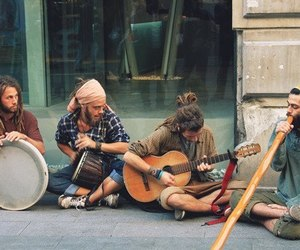 music, guitar, and hippie image