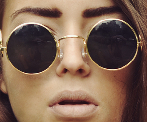 beauty, model, and round glasses image