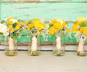 bouquets, flowers, and jars image