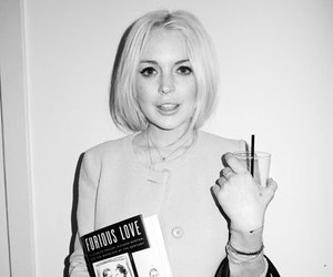 lindsay lohan, black and white, and book image