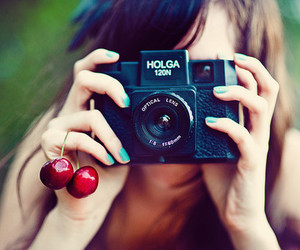 camera, girl, and cherry image