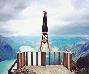 girl, fitness, and mountains image