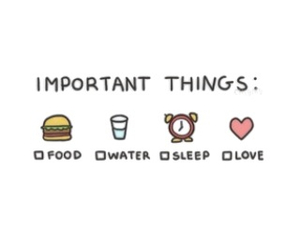 love, food, and sleep image