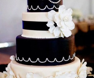 black & white, wedding, and cake image