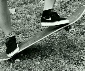black and white, nike, and skate image