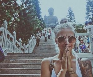 girl, tattoo, and Buddha image