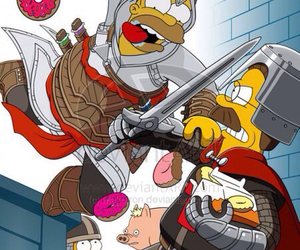 assassin's creed, simpsons, and funny image