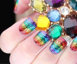 nails, rainbow, and diamond image