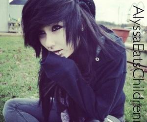 black hair, emo, and girl image