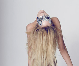 blonde, girl, and mask image