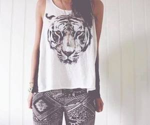 fashion, girl, and tiger image