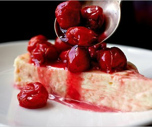 cake, cherries, and sour cherries image