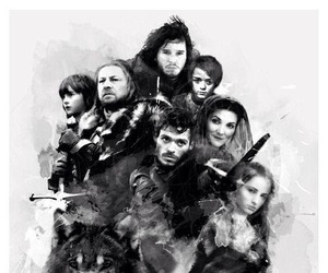 game of thrones, stark, and jon snow image
