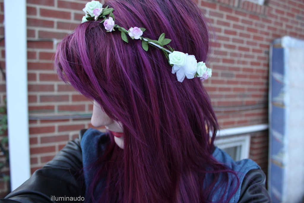Purple Hair Flower Crown Shared By Gss On We Heart It