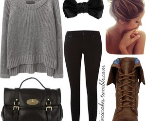 outfit, bow, and bun image