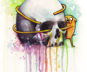 skull, watercolor, and adventure time image
