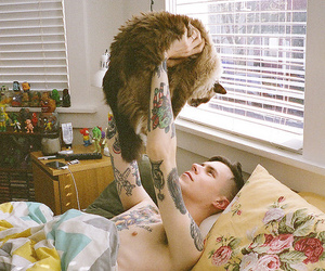 cat, boy, and tattoo image