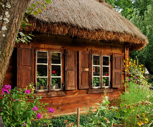 house, flowers, and cabin image