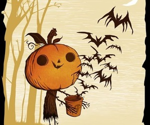 Halloween, bats, and pumpkin image