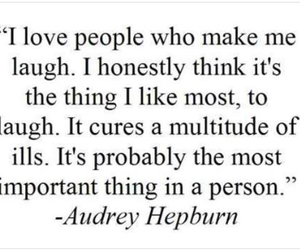 quote, laugh, and audrey hepburn image