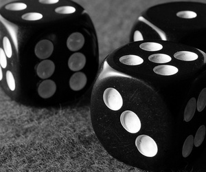black and white and dice image