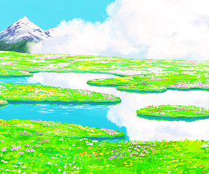 anime, howl's moving castle, and scenery image