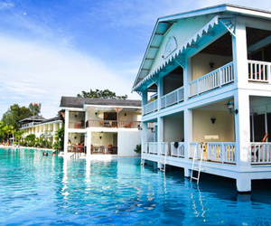 house, water, and blue image