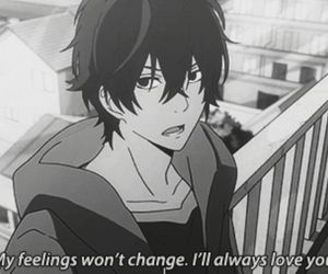 love, anime, and black and white image