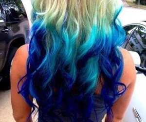 blonde, colorful hair, and blue image