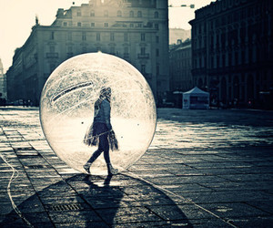 girl, bubble, and city image