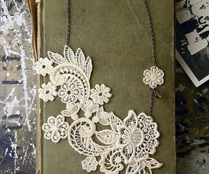 book, lace, and necklace image
