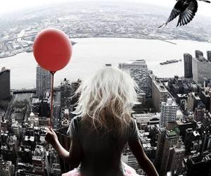 girl, city, and balloon image