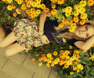 beautiful, blond, and flowers image