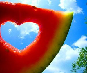 fruit, heart, and sky image