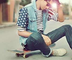 boy, skateboard, and guy image