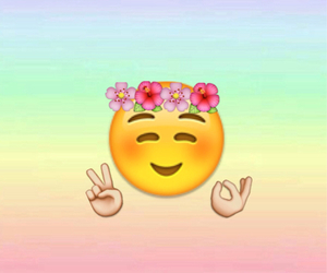 emoji, peace, and flowers image