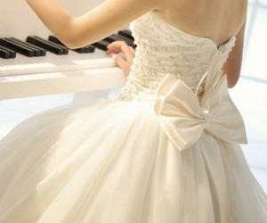 dress, wedding, and piano image
