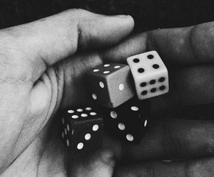 black and white, dice, and dots image