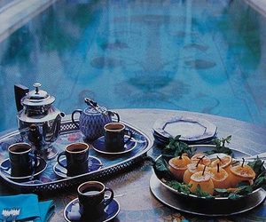 pool, food, and tea image