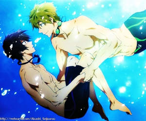 anime, haru, and swimming anime image