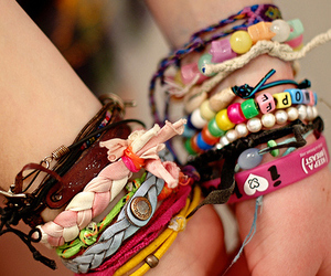 bracelets, colorful, and diy jewelry image